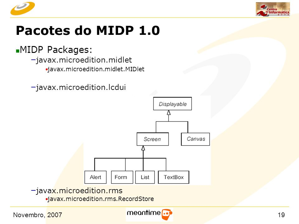 Novembro, 200719 Pacotes do MIDP 1.0 n MIDP Packages: – javax.microedition.midlet  javax.microedition.midlet.MIDlet – javax.microedition.lcdui – javax.microedition.rms  javax.microedition.rms.RecordStore