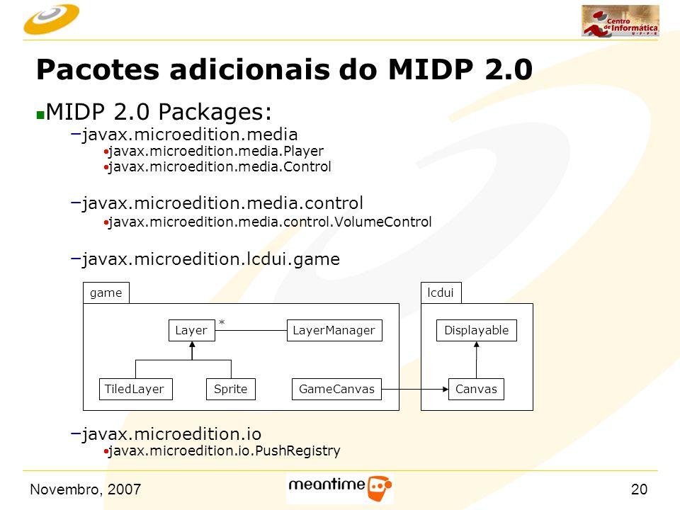 Novembro, 200720 Pacotes adicionais do MIDP 2.0 n MIDP 2.0 Packages: – javax.microedition.media  javax.microedition.media.Player  javax.microedition