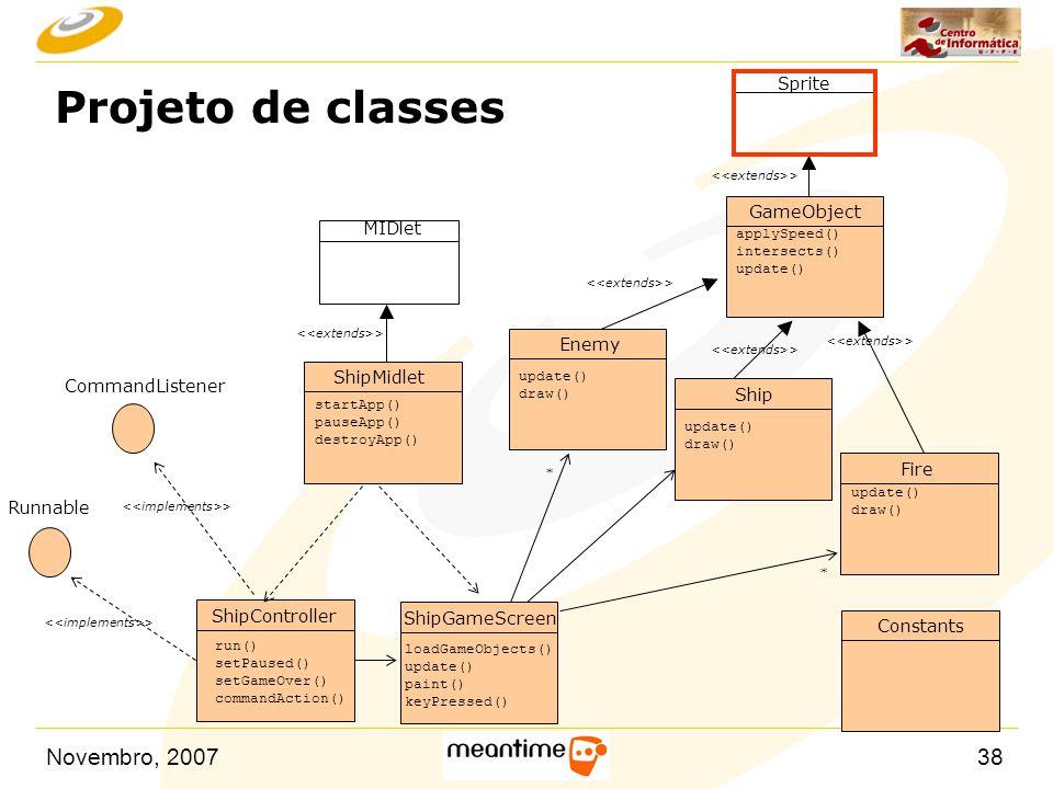 Novembro, 200738 Projeto de classes startApp() pauseApp() destroyApp() ShipMidlet ShipController GameObject Ship Fire Enemy ShipGameScreen Constants r