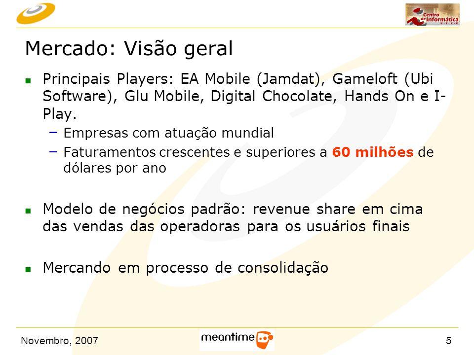 Novembro, 20075 Mercado: Visão geral n Principais Players: EA Mobile (Jamdat), Gameloft (Ubi Software), Glu Mobile, Digital Chocolate, Hands On e I- P