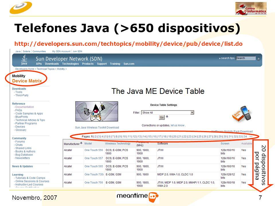 Novembro, 200718 MIDP n Mobile Information Device Profile (MIDP).