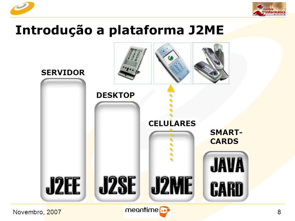 Novembro, 200719 Pacotes do MIDP 1.0 n MIDP Packages: – javax.microedition.midlet  javax.microedition.midlet.MIDlet – javax.microedition.lcdui – javax.microedition.rms  javax.microedition.rms.RecordStore