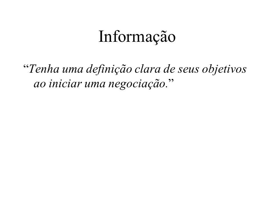 """Informação """"Tenha uma definição clara de seus objetivos ao iniciar uma negociação."""""""