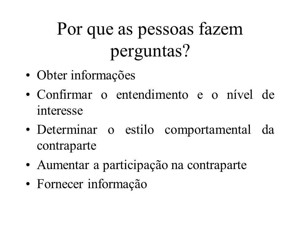Por que as pessoas fazem perguntas? Obter informações Confirmar o entendimento e o nível de interesse Determinar o estilo comportamental da contrapart