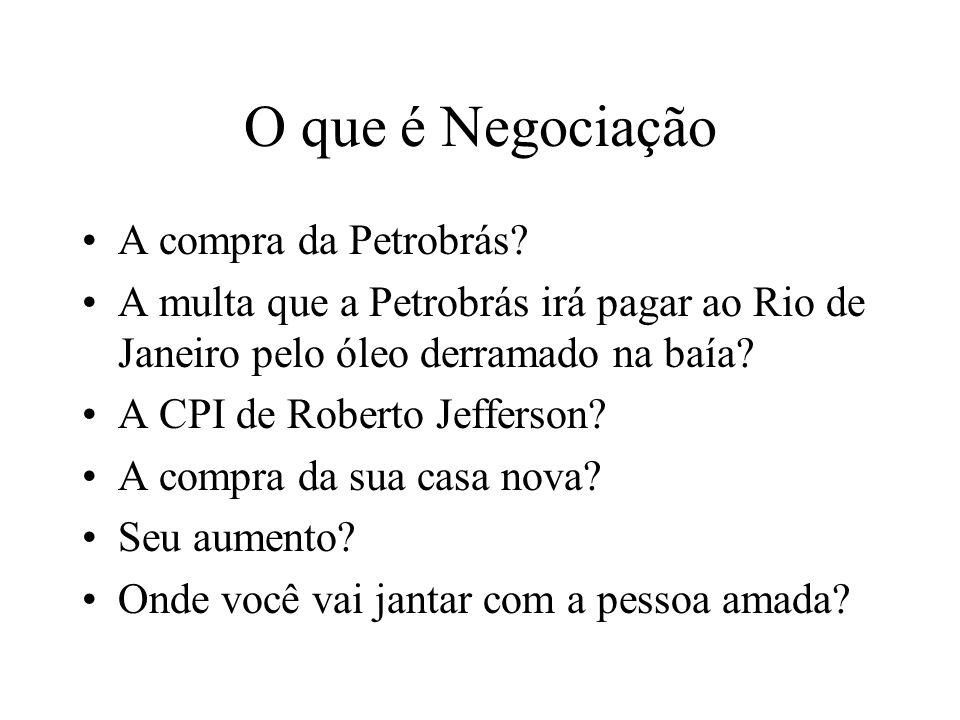 O que é Negociação A compra da Petrobrás? A multa que a Petrobrás irá pagar ao Rio de Janeiro pelo óleo derramado na baía? A CPI de Roberto Jefferson?