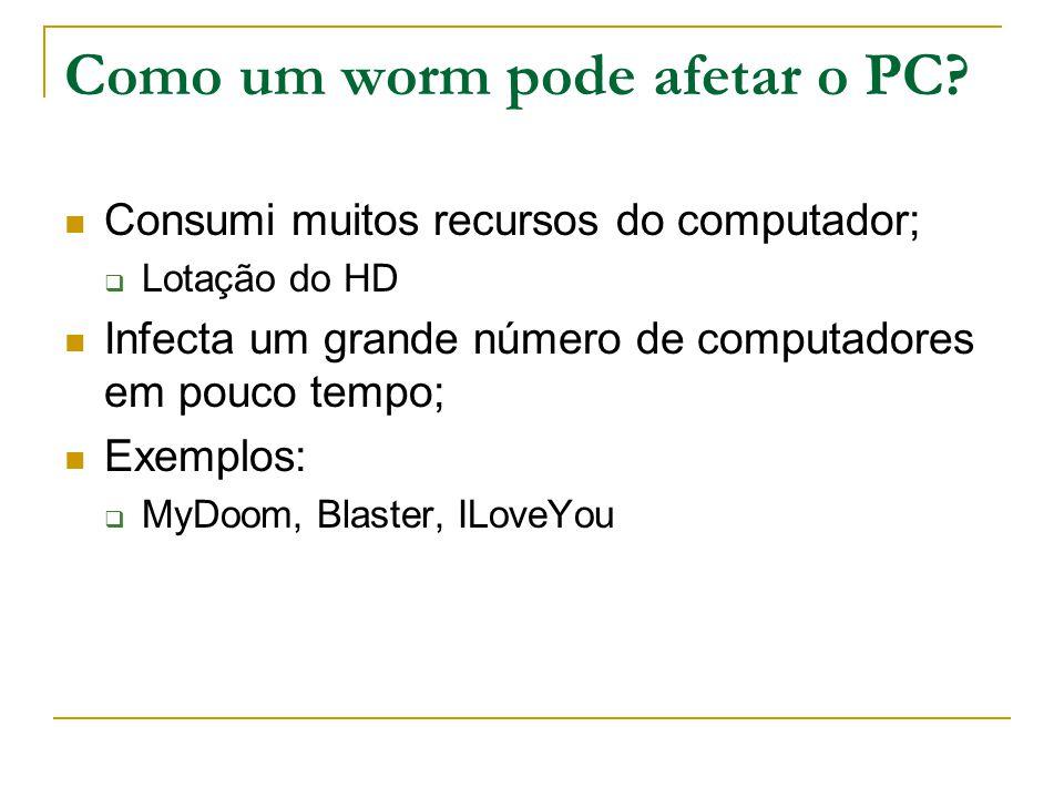 Como um worm pode afetar o PC.