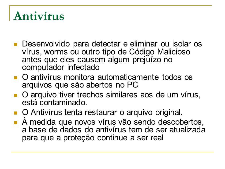Antivírus Desenvolvido para detectar e eliminar ou isolar os vírus, worms ou outro tipo de Código Malicioso antes que eles causem algum prejuízo no co