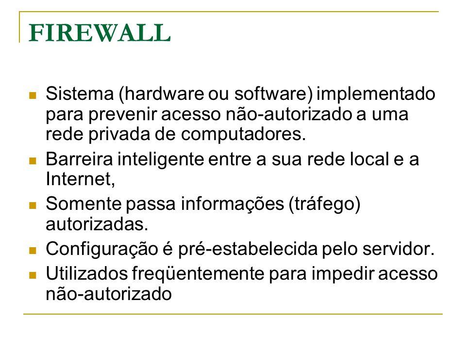 FIREWALL Sistema (hardware ou software) implementado para prevenir acesso não-autorizado a uma rede privada de computadores. Barreira inteligente entr