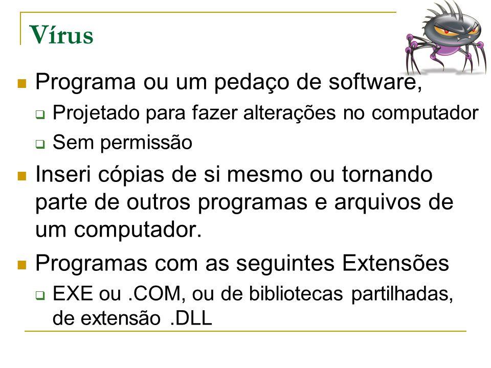 Vírus Programa ou um pedaço de software,  Projetado para fazer alterações no computador  Sem permissão Inseri cópias de si mesmo ou tornando parte d