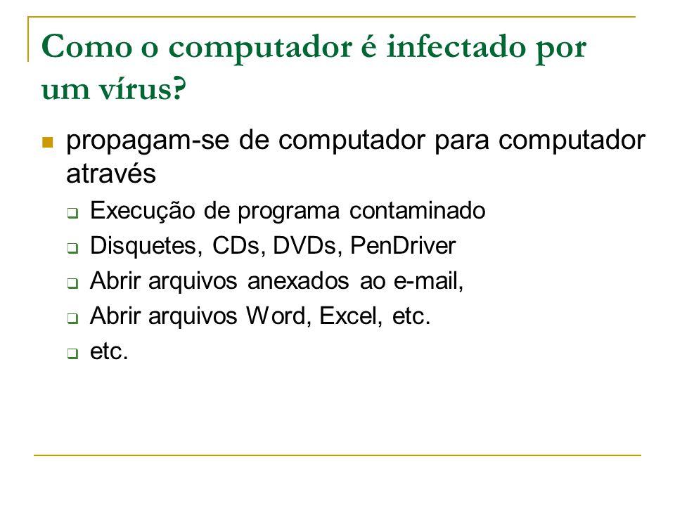 Como o computador é infectado por um vírus.
