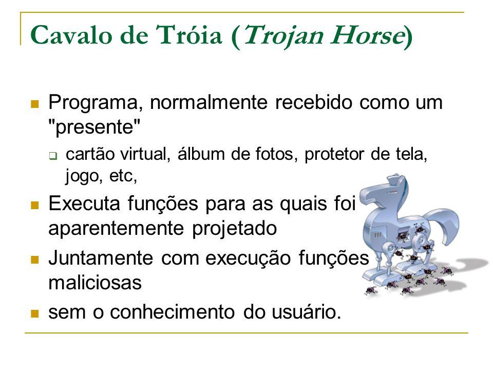 Cavalo de Tróia (Trojan Horse) Programa, normalmente recebido como um presente  cartão virtual, álbum de fotos, protetor de tela, jogo, etc, Executa funções para as quais foi aparentemente projetado Juntamente com execução funções maliciosas sem o conhecimento do usuário.