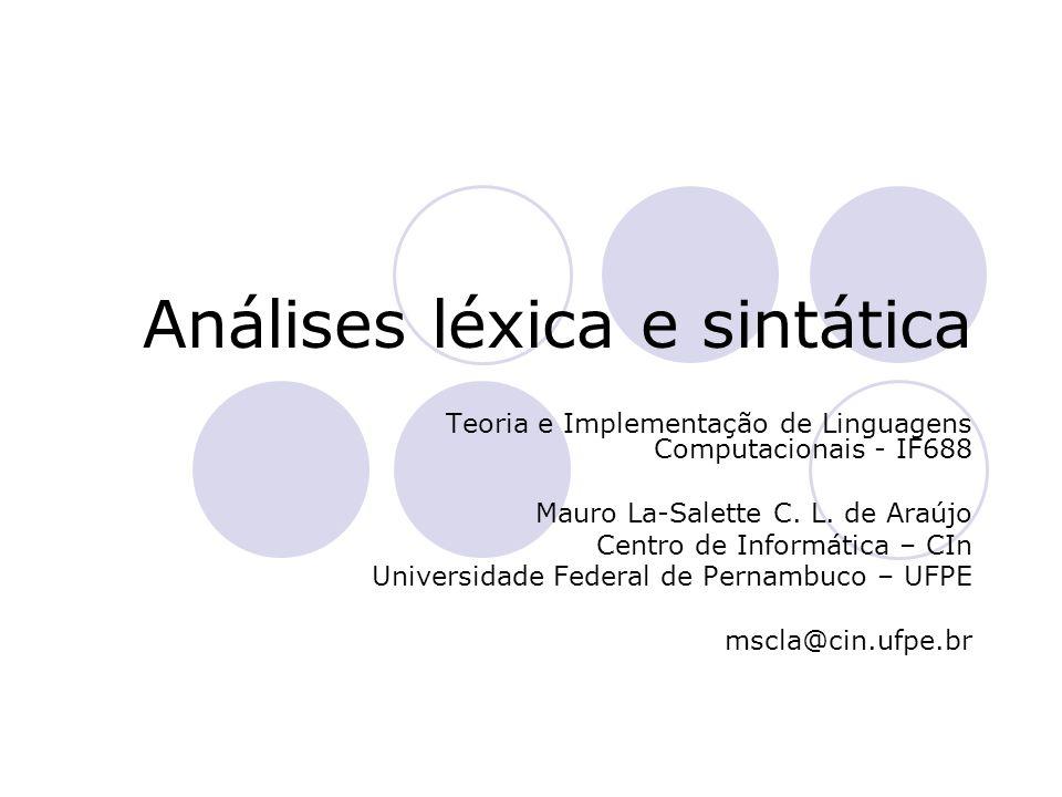 Roteiro Visão geral Análise léxica  Definição  Especificação  Implementação  Correspondência Análise sintática  Definição  Especificação  Implementação Algoritmos de parsing e gramáticas  Gramáticas ambíguas  Sintaxe abstrata
