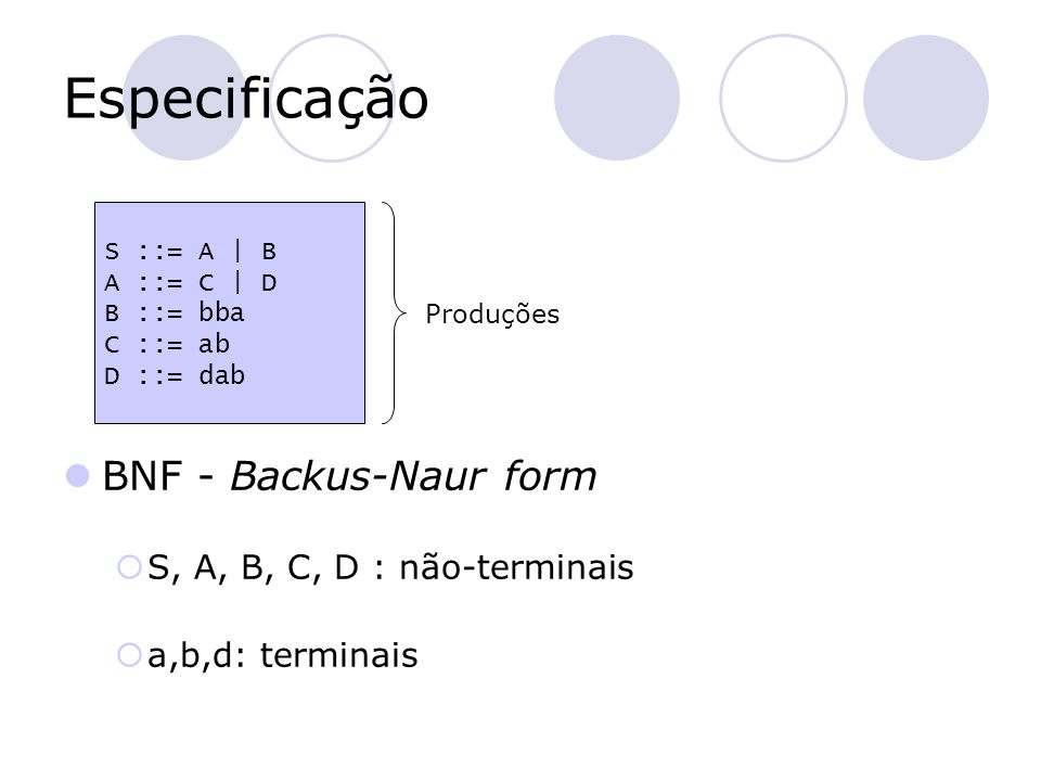 Especificação BNF - Backus-Naur form  S, A, B, C, D : não-terminais  a,b,d: terminais S ::= A   B A ::= C   D B ::= bba C ::= ab D ::= dab Produções