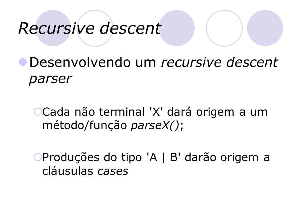 Recursive descent Desenvolvendo um recursive descent parser  Cada não terminal 'X' dará origem a um método/função parseX();  Produções do tipo 'A  