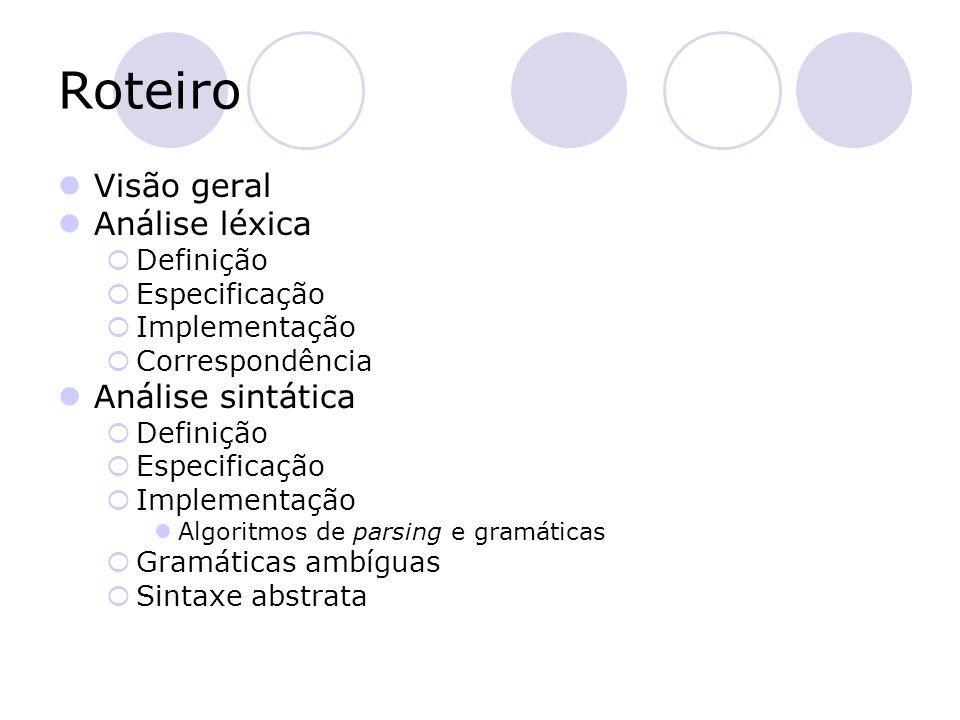 Roteiro Visão geral Análise léxica  Definição  Especificação  Implementação  Correspondência Análise sintática  Definição  Especificação  Imple