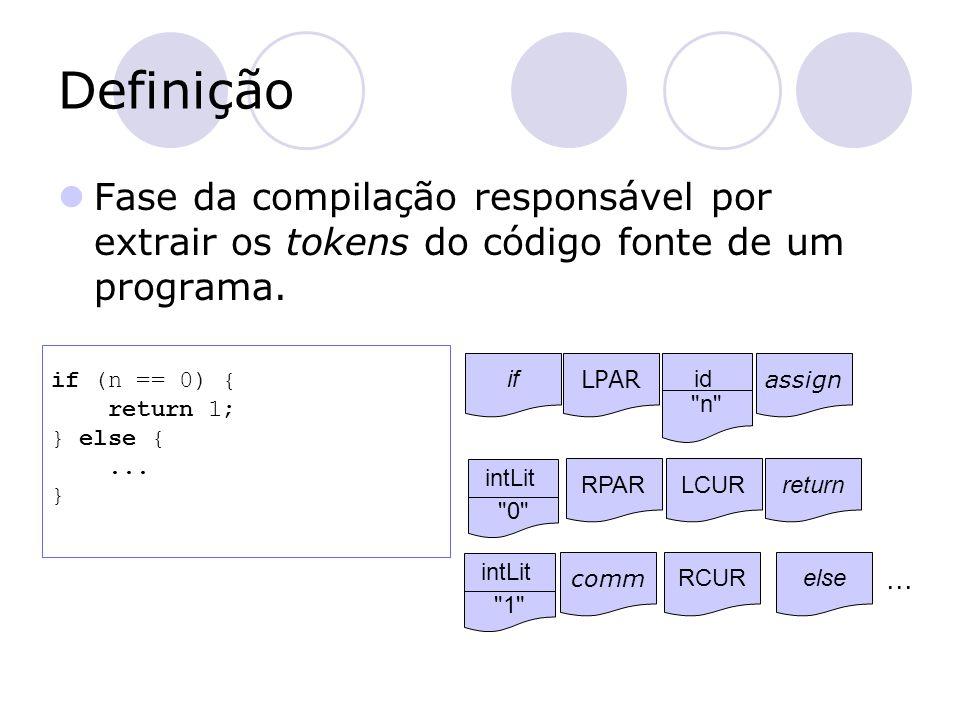 Especificação Os tokens de uma linguagem comumente são especificados através de Expressões Regulares  [a-z][a-z0-9]* identifier  [0-9]+ intLiteral