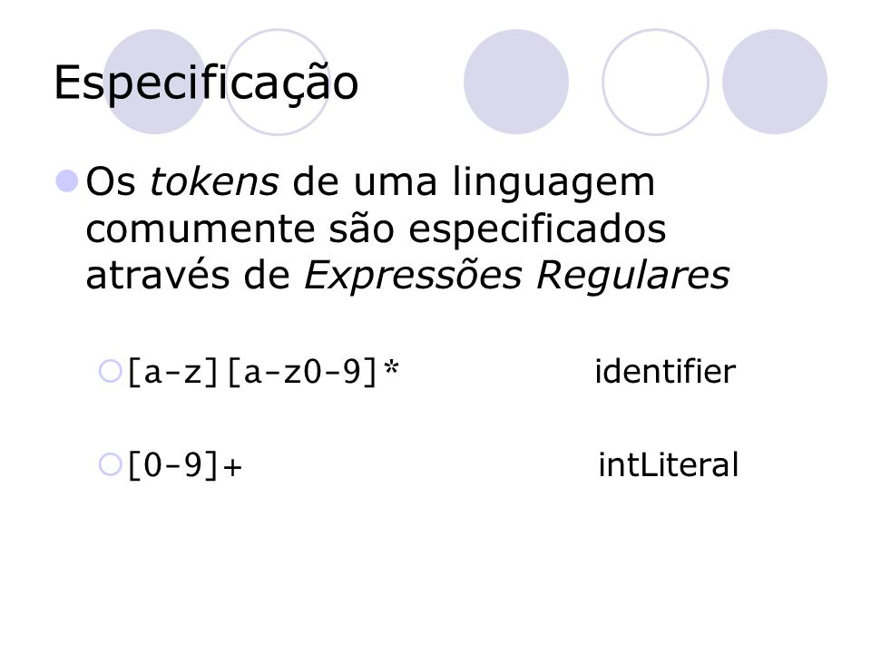 Implementação Autômatos finitos 1 2 a-z 0-9 ID 21 3 if IF