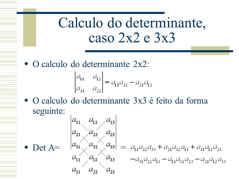  O calculo do determinante 2x2:  O calculo do determinante 3x3 é feito da forma seguinte:  Det A= = Calculo do determinante, caso 2x2 e 3x3