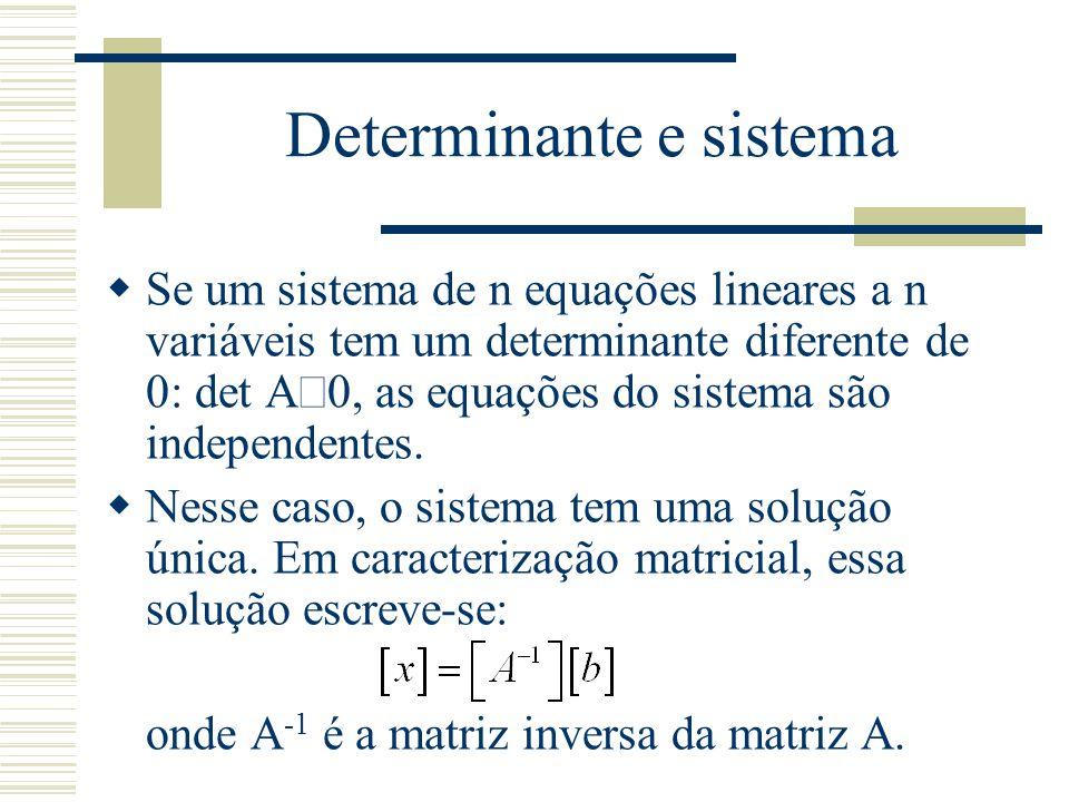 Determinante e sistema  Se um sistema de n equações lineares a n variáveis tem um determinante diferente de 0: det A  0, as equações do sistema são