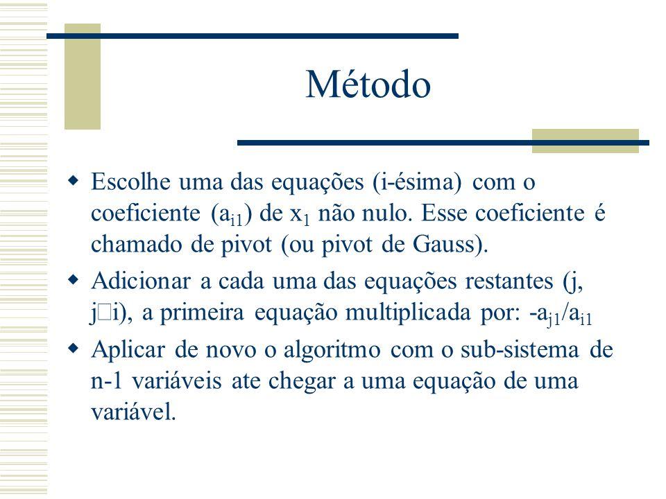 Método  Escolhe uma das equações (i-ésima) com o coeficiente (a i1 ) de x 1 não nulo. Esse coeficiente é chamado de pivot (ou pivot de Gauss).  Adic