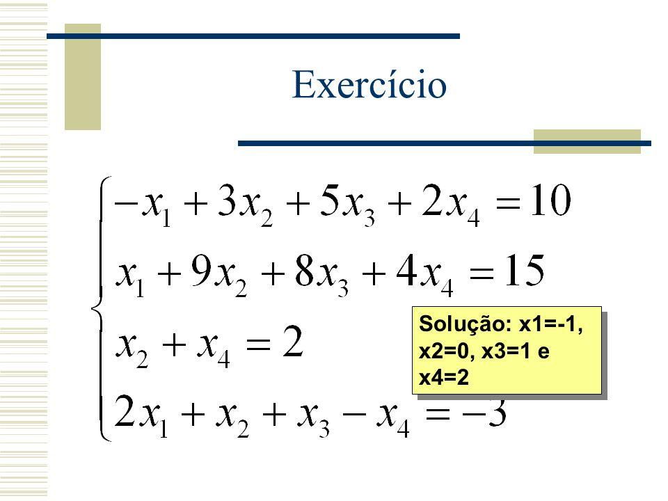 Exercício Solução: x1=-1, x2=0, x3=1 e x4=2