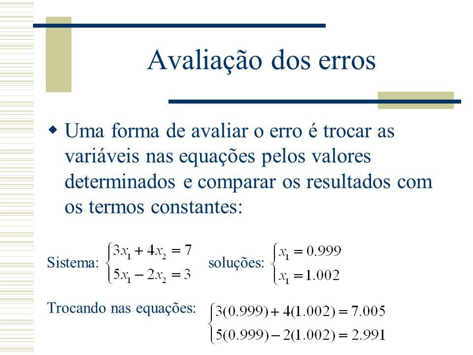 Avaliação dos erros  Uma forma de avaliar o erro é trocar as variáveis nas equações pelos valores determinados e comparar os resultados com os termos