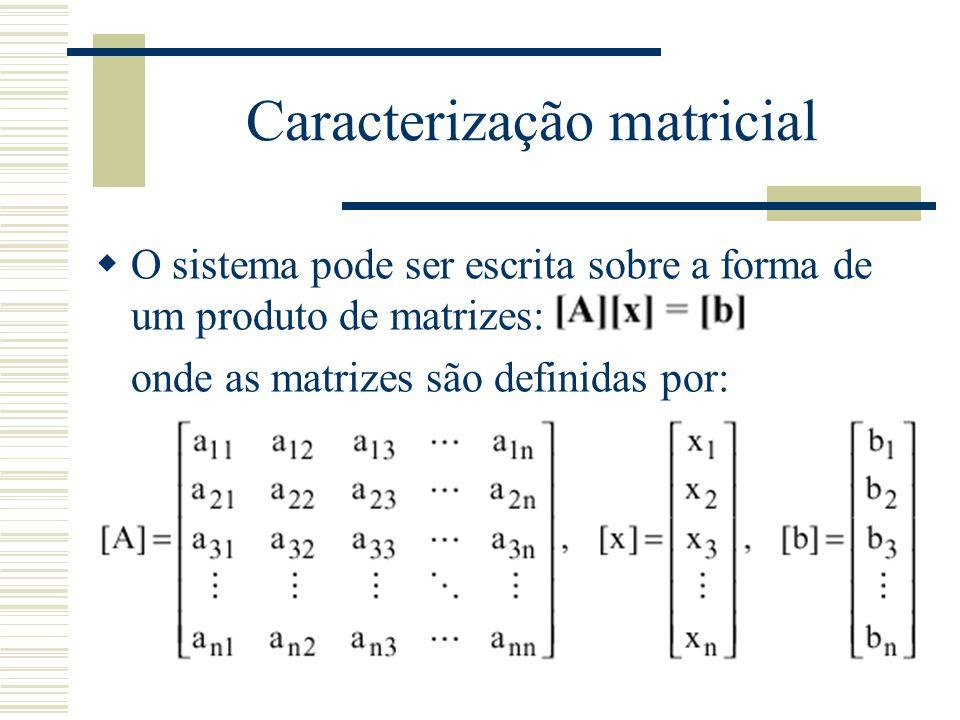 Caracterização matricial  O sistema pode ser escrita sobre a forma de um produto de matrizes: onde as matrizes são definidas por: