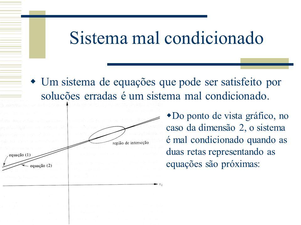 Sistema mal condicionado  Um sistema de equações que pode ser satisfeito por soluções erradas é um sistema mal condicionado.  Do ponto de vista gráf