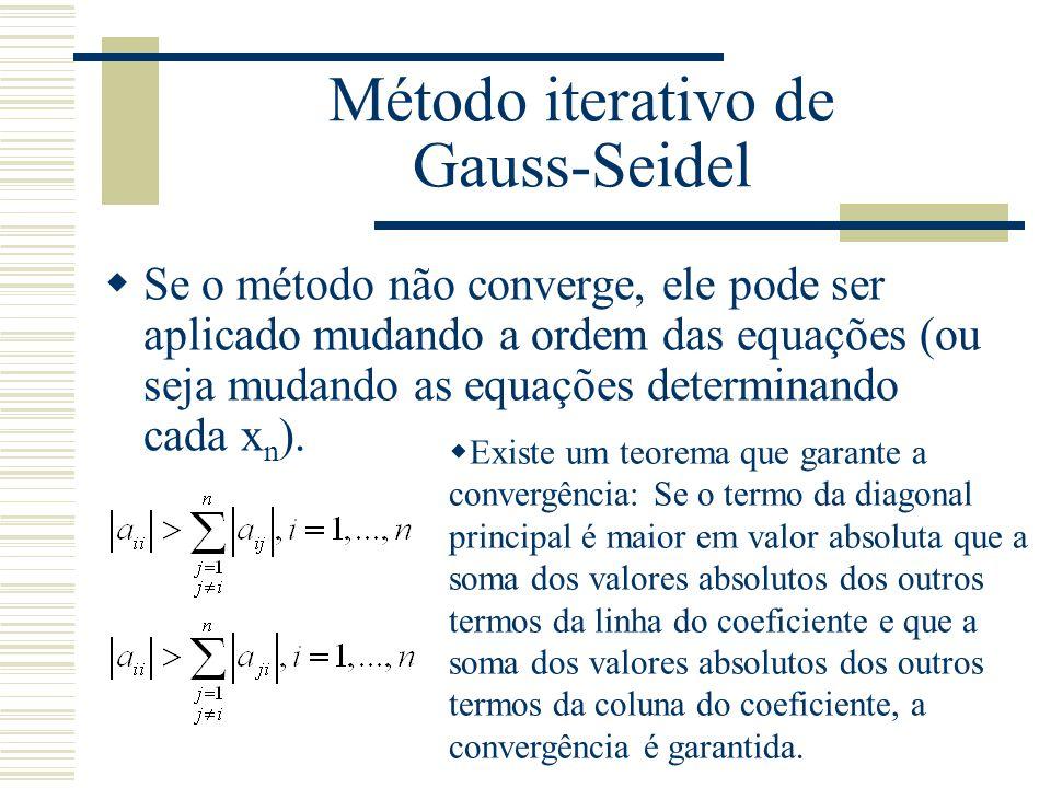 Método iterativo de Gauss-Seidel  Se o método não converge, ele pode ser aplicado mudando a ordem das equações (ou seja mudando as equações determina