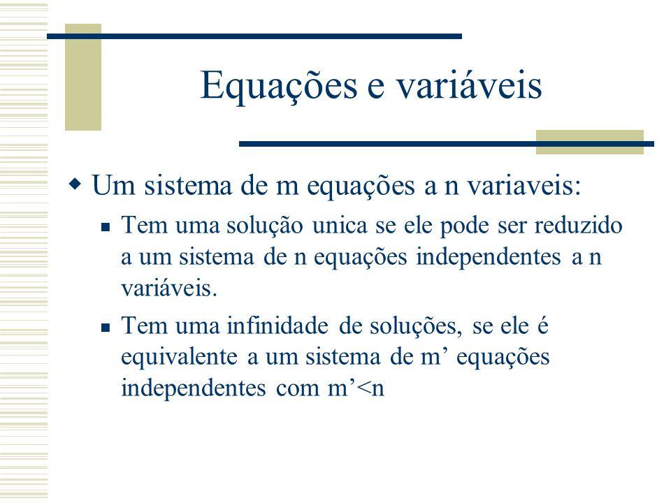 Equações e variáveis  Um sistema de m equações a n variaveis: Tem uma solução unica se ele pode ser reduzido a um sistema de n equações independentes