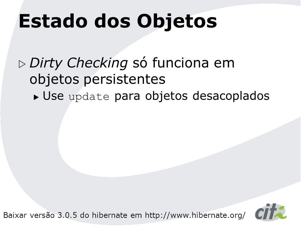 Baixar versão 3.0.5 do hibernate em http://www.hibernate.org/ Estado dos Objetos  Dirty Checking só funciona em objetos persistentes  Use update para objetos desacoplados