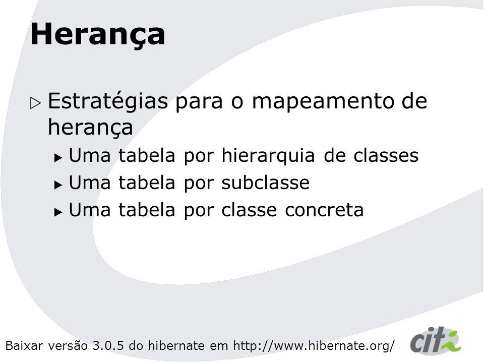 Baixar versão 3.0.5 do hibernate em http://www.hibernate.org/ Herança  Estratégias para o mapeamento de herança  Uma tabela por hierarquia de classes  Uma tabela por subclasse  Uma tabela por classe concreta