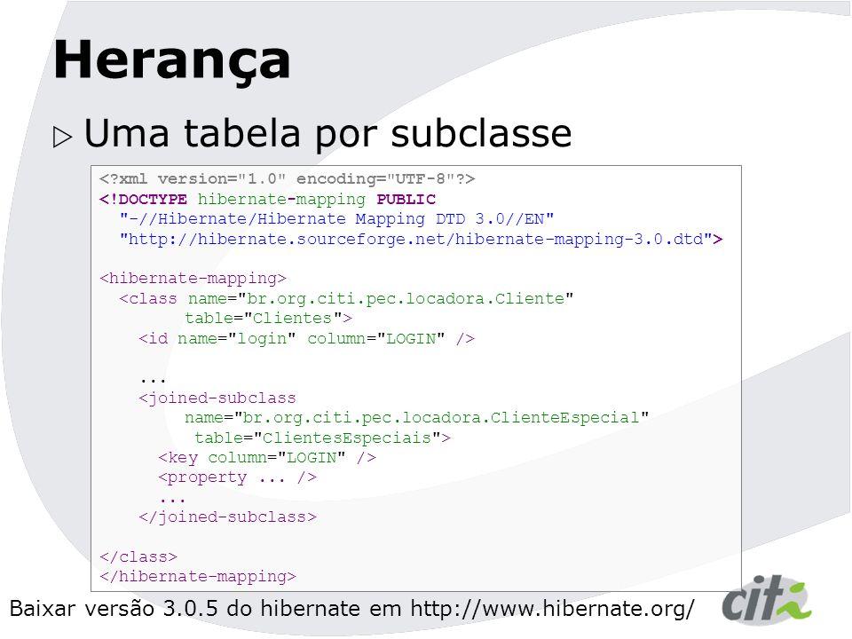Baixar versão 3.0.5 do hibernate em http://www.hibernate.org/ Herança  Uma tabela por subclasse <!DOCTYPE hibernate-mapping PUBLIC -//Hibernate/Hibernate Mapping DTD 3.0//EN http://hibernate.sourceforge.net/hibernate-mapping-3.0.dtd >...
