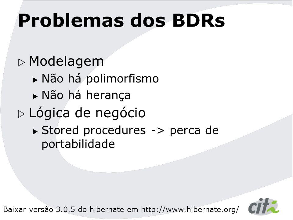 Baixar versão 3.0.5 do hibernate em http://www.hibernate.org/ Problemas dos BDRs  Modelagem  Não há polimorfismo  Não há herança  Lógica de negócio  Stored procedures -> perca de portabilidade