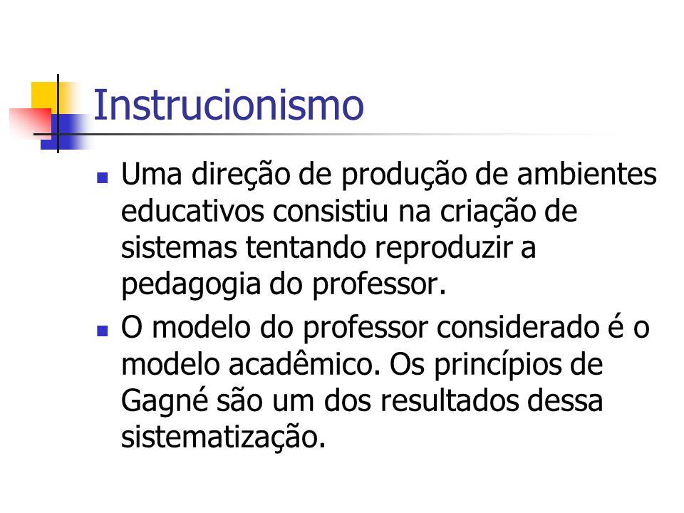 Instrucionismo Uma direção de produção de ambientes educativos consistiu na criação de sistemas tentando reproduzir a pedagogia do professor. O modelo