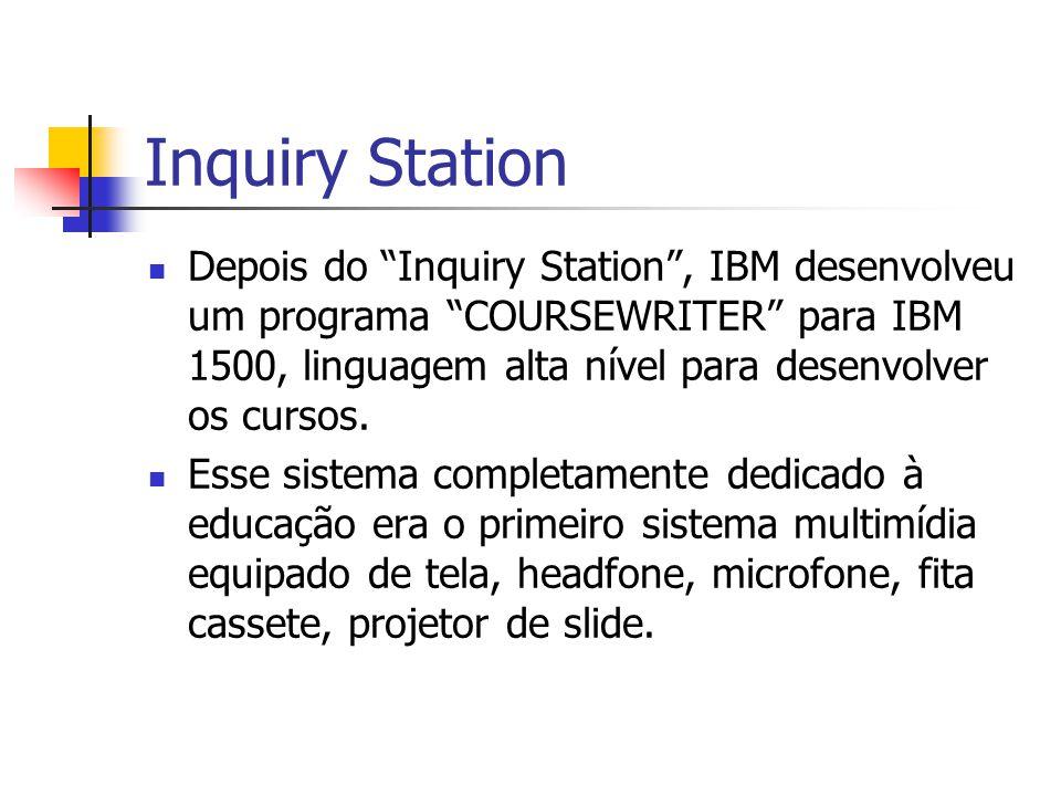 """Inquiry Station Depois do """"Inquiry Station"""", IBM desenvolveu um programa """"COURSEWRITER"""" para IBM 1500, linguagem alta nível para desenvolver os cursos"""