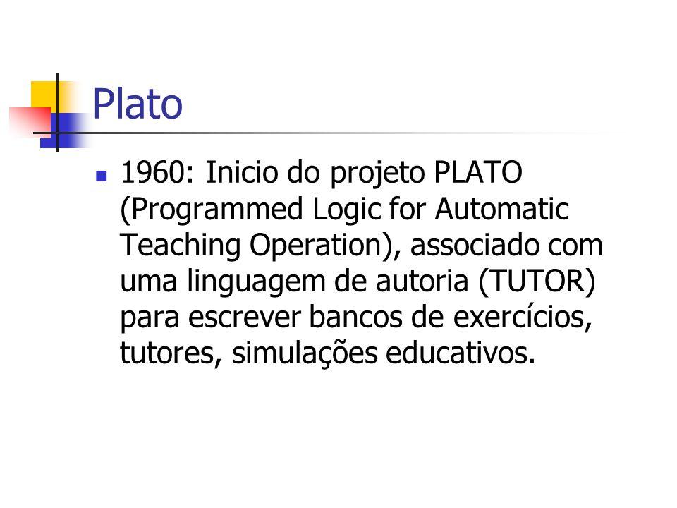 Plato 1960: Inicio do projeto PLATO (Programmed Logic for Automatic Teaching Operation), associado com uma linguagem de autoria (TUTOR) para escrever