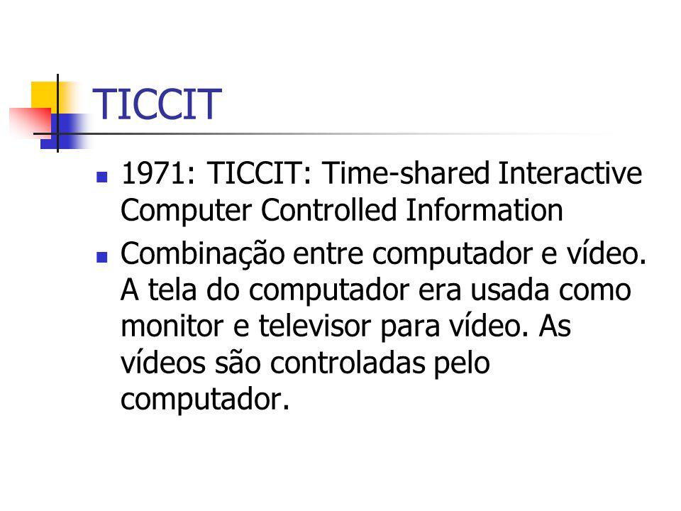 TICCIT 1971: TICCIT: Time-shared Interactive Computer Controlled Information Combinação entre computador e vídeo. A tela do computador era usada como