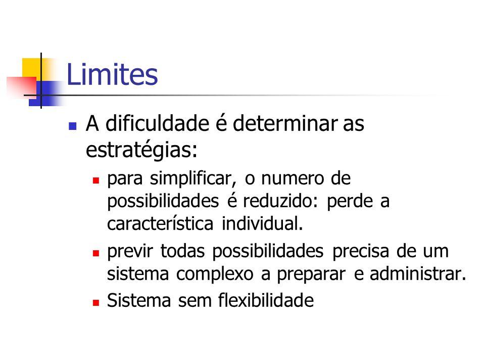 Limites A dificuldade é determinar as estratégias: para simplificar, o numero de possibilidades é reduzido: perde a característica individual. previr
