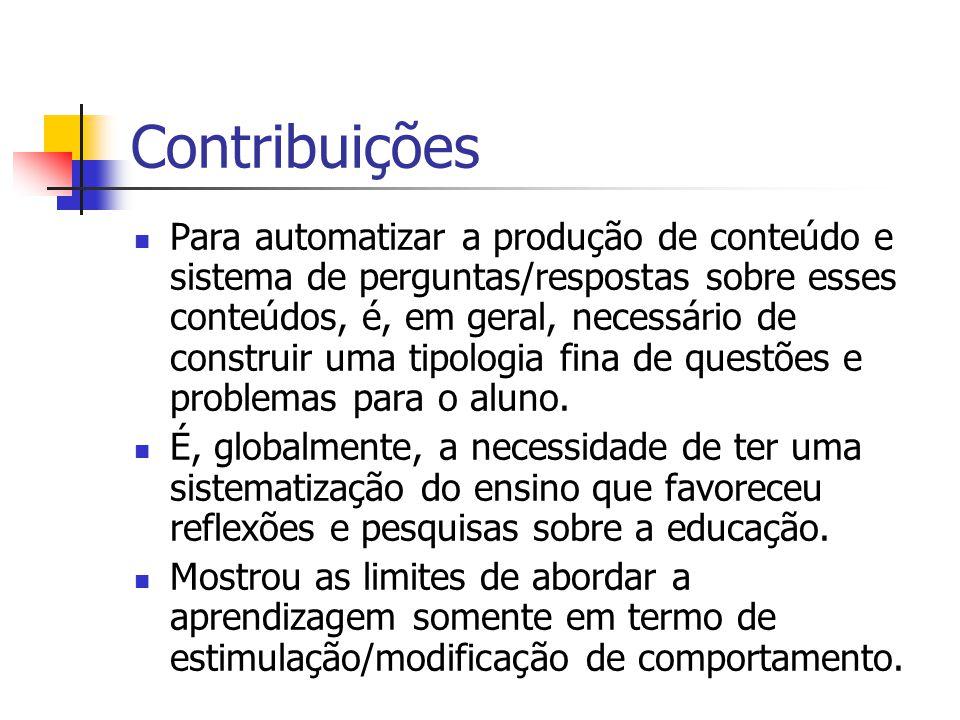 Contribuições Para automatizar a produção de conteúdo e sistema de perguntas/respostas sobre esses conteúdos, é, em geral, necessário de construir uma