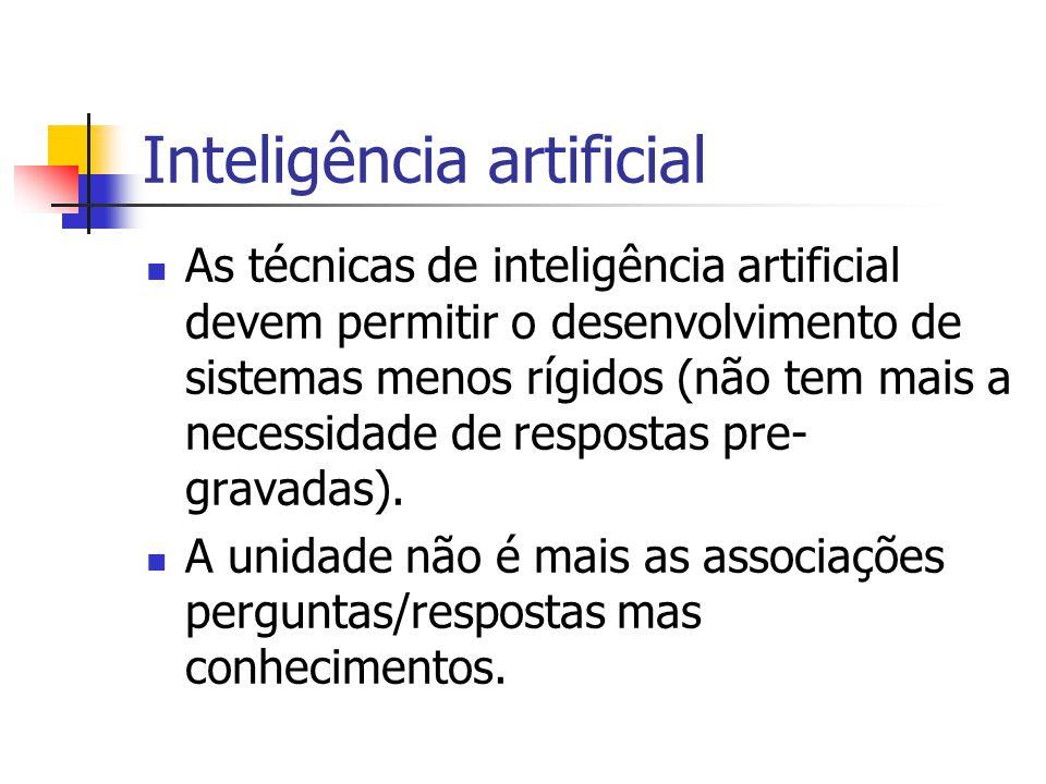 Inteligência artificial As técnicas de inteligência artificial devem permitir o desenvolvimento de sistemas menos rígidos (não tem mais a necessidade