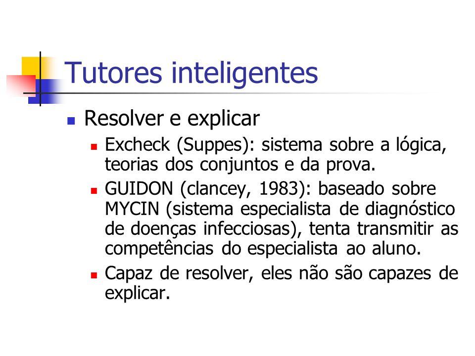 Tutores inteligentes Resolver e explicar Excheck (Suppes): sistema sobre a lógica, teorias dos conjuntos e da prova. GUIDON (clancey, 1983): baseado s