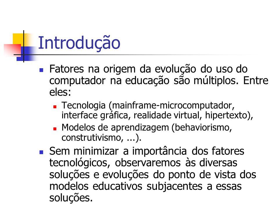 Introdução Fatores na origem da evolução do uso do computador na educação são múltiplos. Entre eles: Tecnologia (mainframe-microcomputador, interface