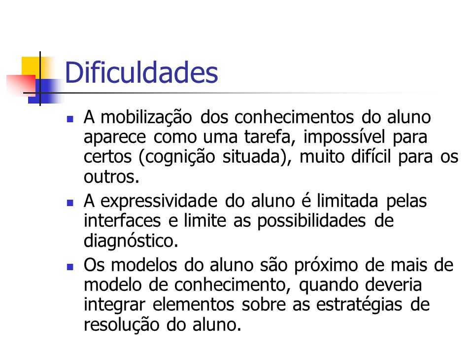 Dificuldades A mobilização dos conhecimentos do aluno aparece como uma tarefa, impossível para certos (cognição situada), muito difícil para os outros