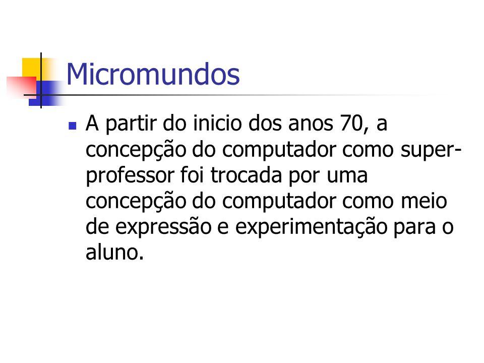 Micromundos A partir do inicio dos anos 70, a concepção do computador como super- professor foi trocada por uma concepção do computador como meio de e