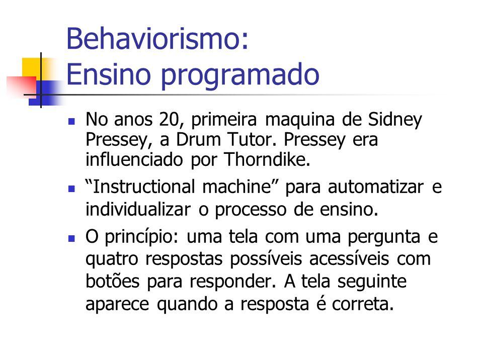 """Behaviorismo: Ensino programado No anos 20, primeira maquina de Sidney Pressey, a Drum Tutor. Pressey era influenciado por Thorndike. """"Instructional m"""