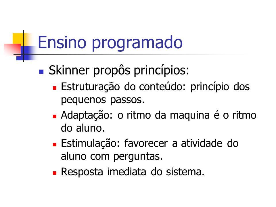 Ensino programado Skinner propôs princípios: Estruturação do conteúdo: princípio dos pequenos passos. Adaptação: o ritmo da maquina é o ritmo do aluno