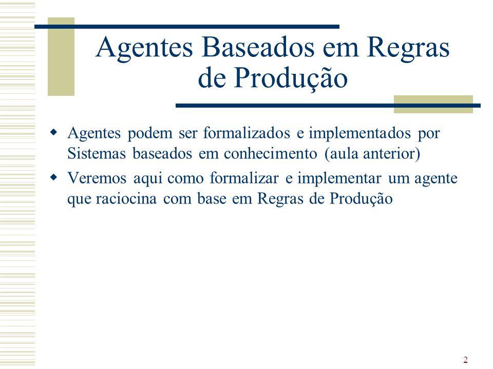 2  Agentes podem ser formalizados e implementados por Sistemas baseados em conhecimento (aula anterior)  Veremos aqui como formalizar e implementar