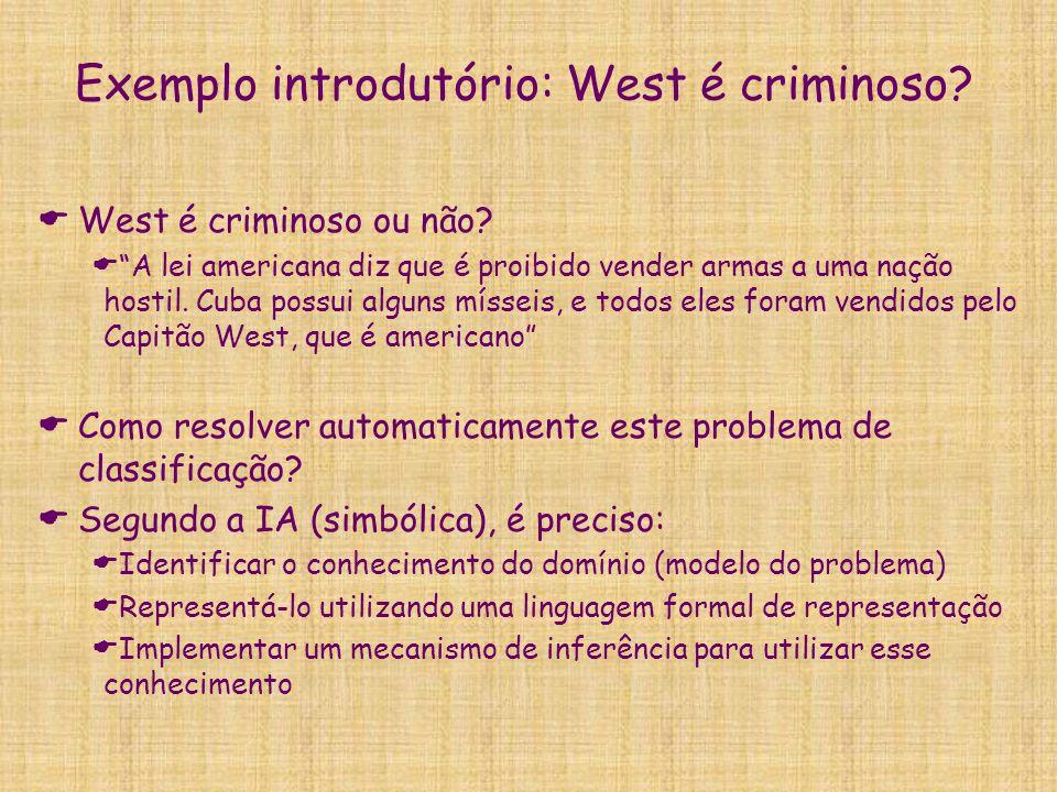 """Exemplo introdutório: West é criminoso?  West é criminoso ou não?  """"A lei americana diz que é proibido vender armas a uma nação hostil. Cuba possui"""
