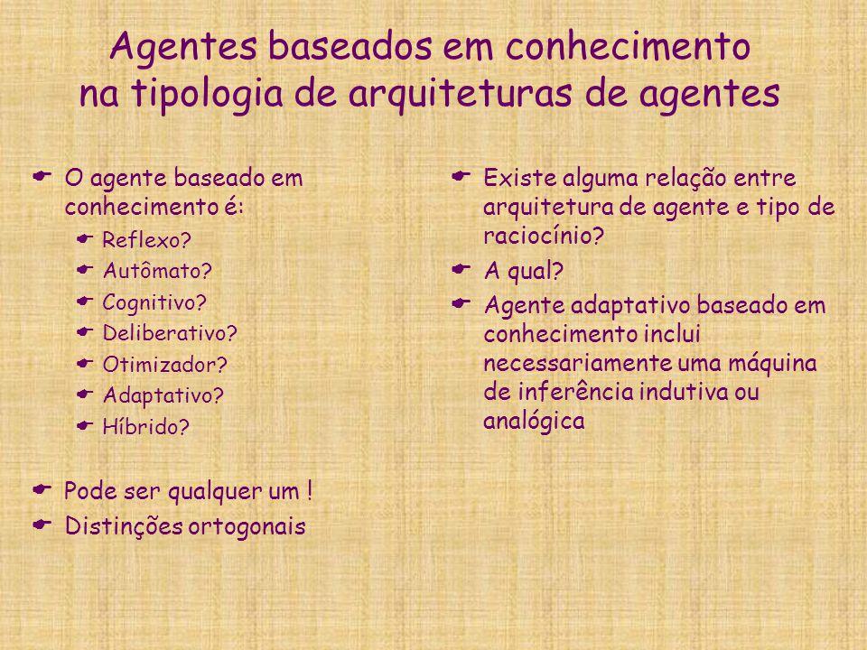 Agentes baseados em conhecimento na tipologia de arquiteturas de agentes  O agente baseado em conhecimento é:  Reflexo?  Autômato?  Cognitivo?  D